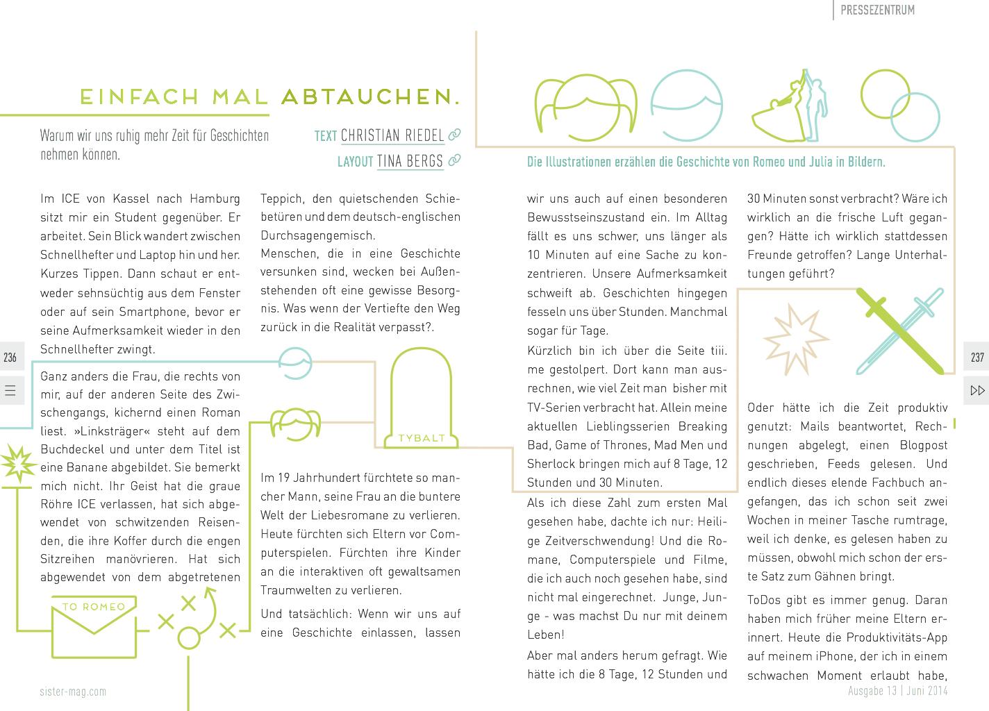 Essay über Abtauchen und Geschichten im Sister Mag.
